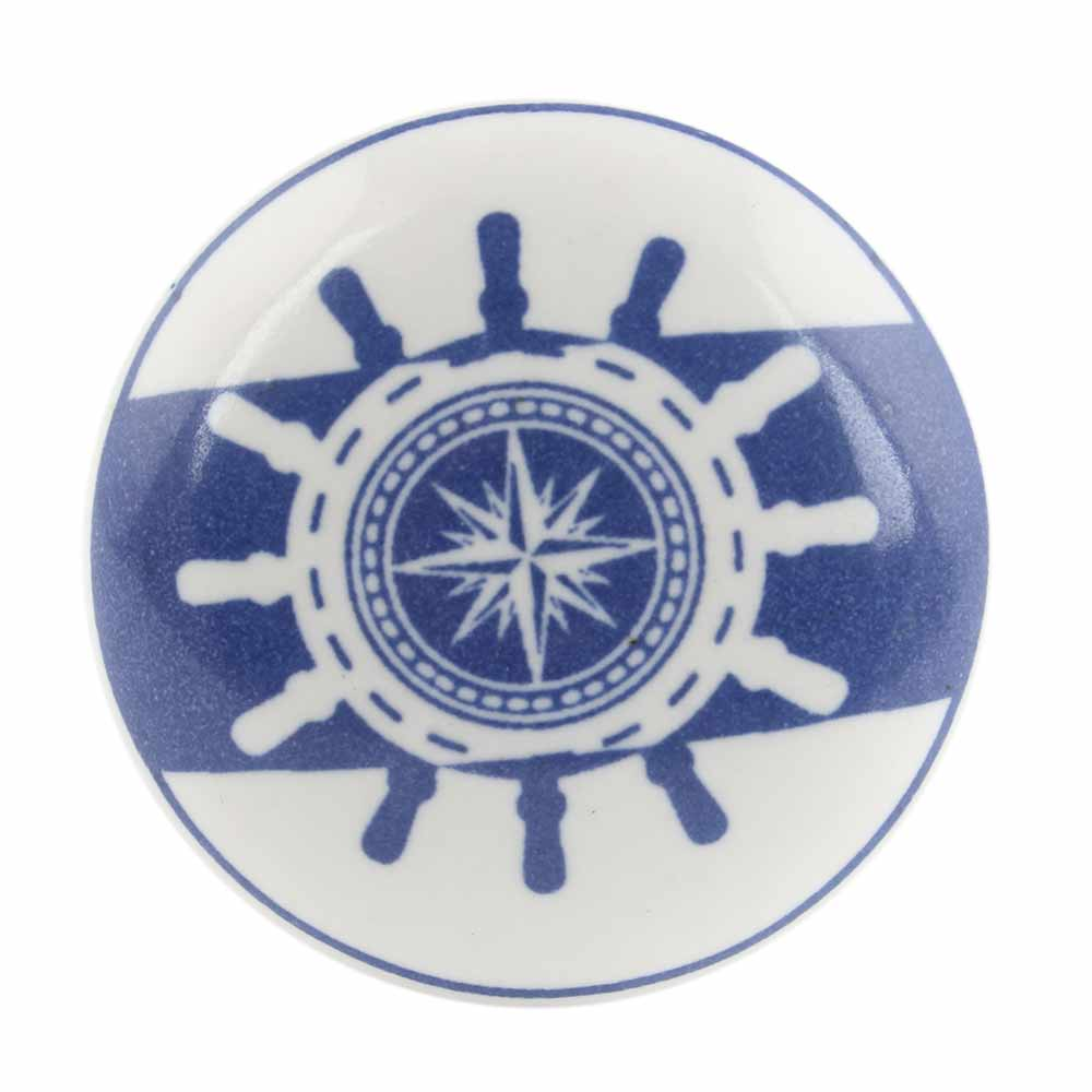 Ship Wheel Slate Blue Flat Ceramic Wine Bottle Stopper