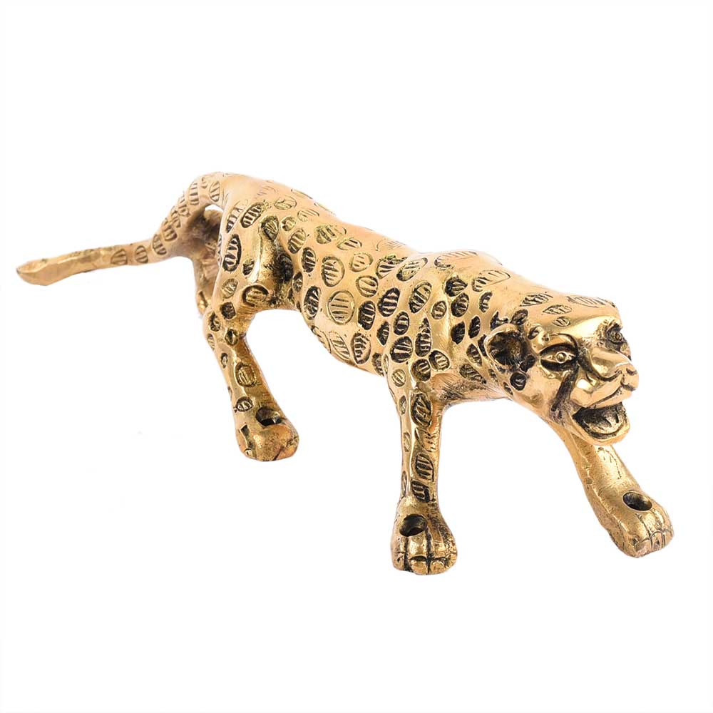 Golden Jaguar Statue Showpiece Interior Decor Item