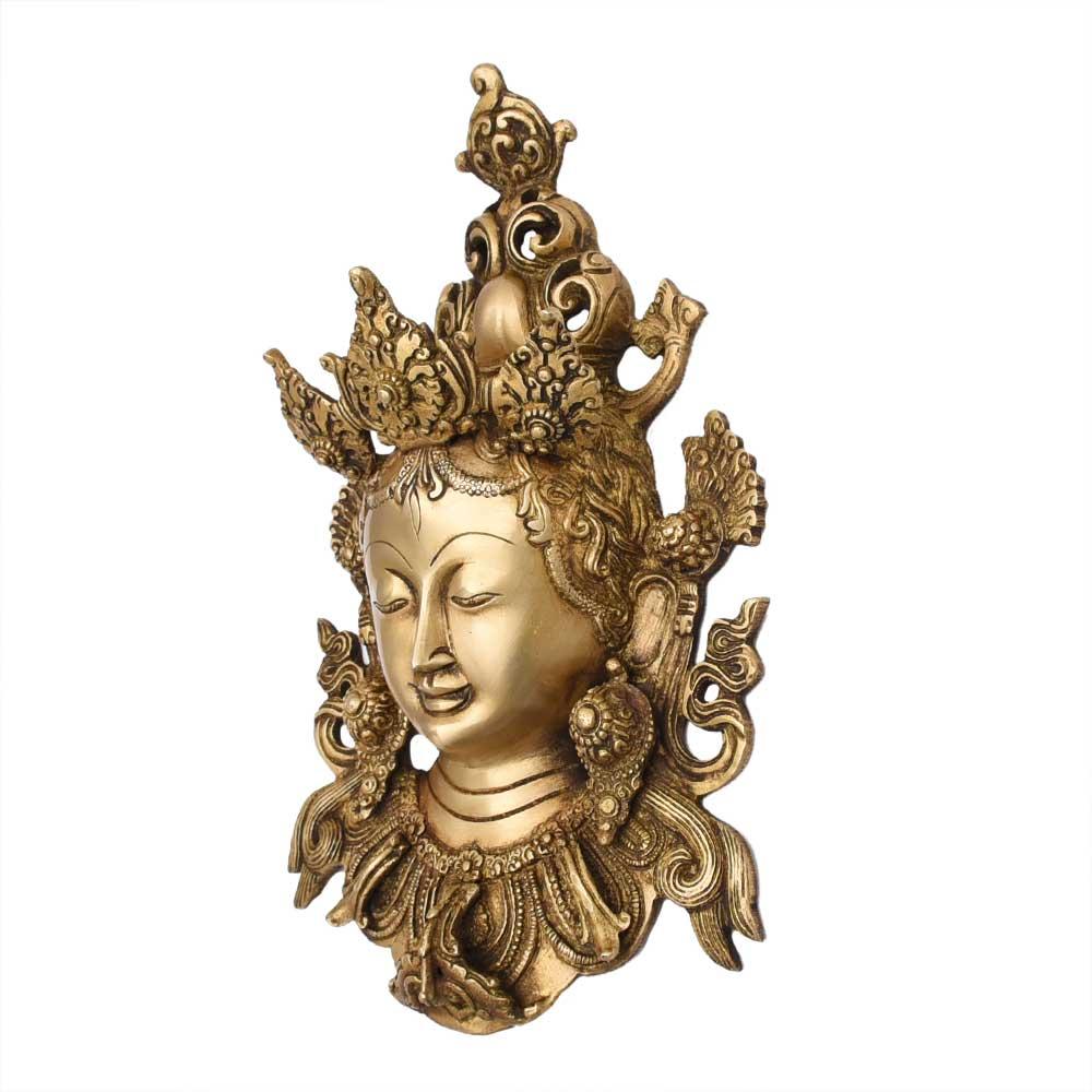 Handmade Tara Buddha Golden Face Brass Wall Hanging