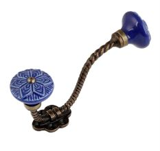 Navy Blue Wheel Flower Ceramic Antique Rope Iron Hook
