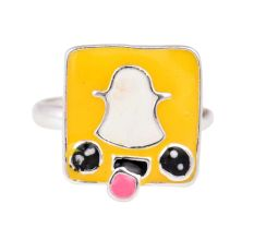 Yellow Snap chat Logo Adjustable Silver Toe Ring For Kids