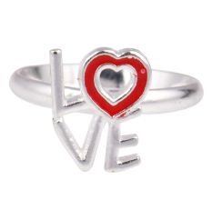 Love Charm Adjustable Silver Toe Ring Children Kids Jewelry