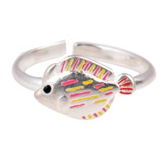 Hand Painted Silver Adjustable Toe Ring Baby Fish Children Kids Jewelry