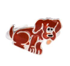 Brown Dog Charm Silver Adjustable Children Toe Ring