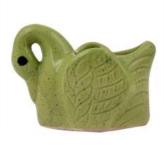 Handmade Green Glazed Duck Shape Ceramic Pot For Indoor Plants