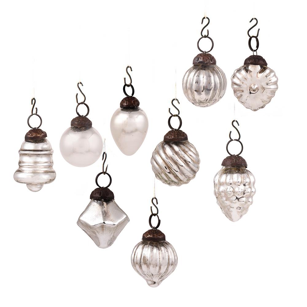 Silver Combo Glass Tiny Christmas Hanging Set of 25