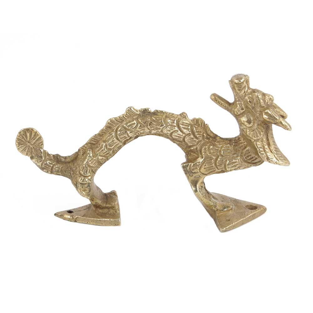Handmade Golden Brass Carved Dragon Door Handle