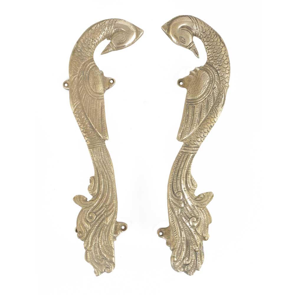 Handmade Brass Peacock Door Handles With Engraved Design In Pair