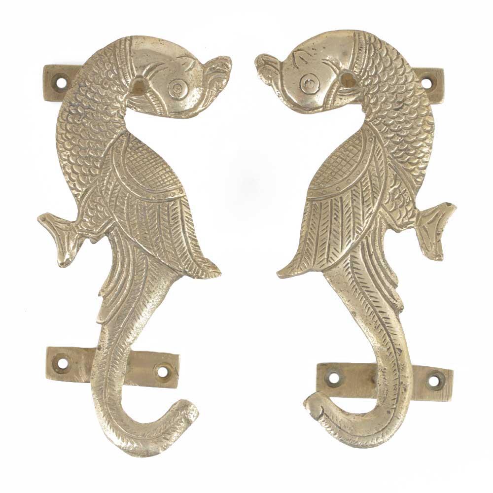 Handmade Golden Brass Door Handles With Parrots In Pair