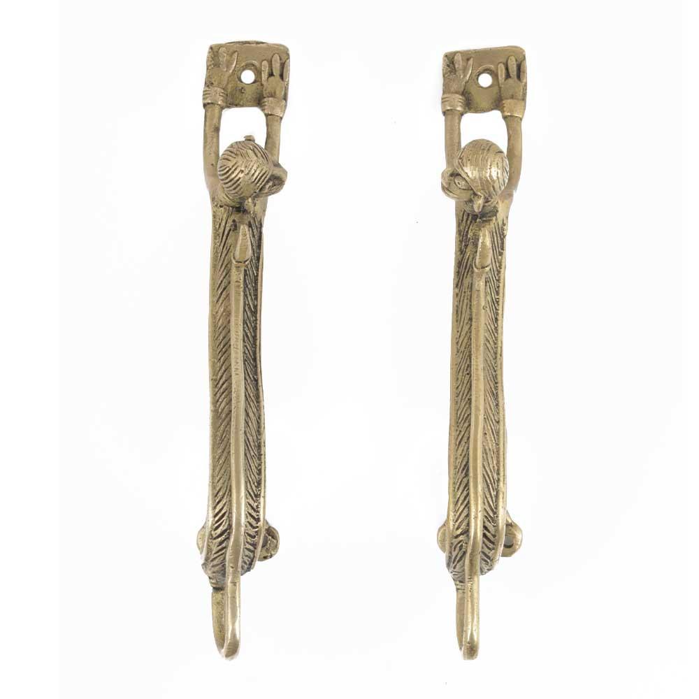 Handmade Golden Brass Door Handles In Monkey With Long Body In Set of 2