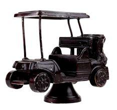 Handmade Black Brass Golf Cart Toy On Stand