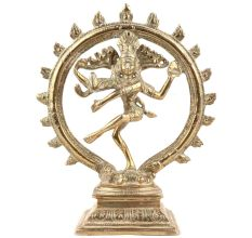 Handmade Golden Brass Lord Shiva Nataraja Statue