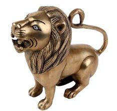 Handmade Antique Golden Brass Sitting Lion Statue