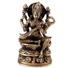 Handmade Black Brass Saraswati Mata Statue