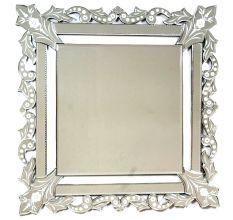 Handmade Silver Glass Squared Wall Mounted Venetian Mirror