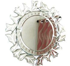 Handmade Silver Glass Round Venetian Mirror With Elaborate Design