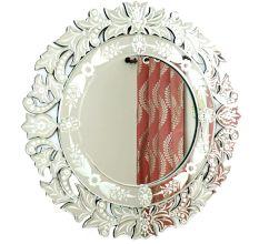 Handmade Silver Glass Traditional Round Venetian Mirror