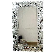 Handmade Silver Glass Ornate Square Modern Venetian Mirror