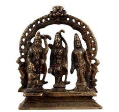 Handmade Antique Golden Brass Ram Darbar Statue