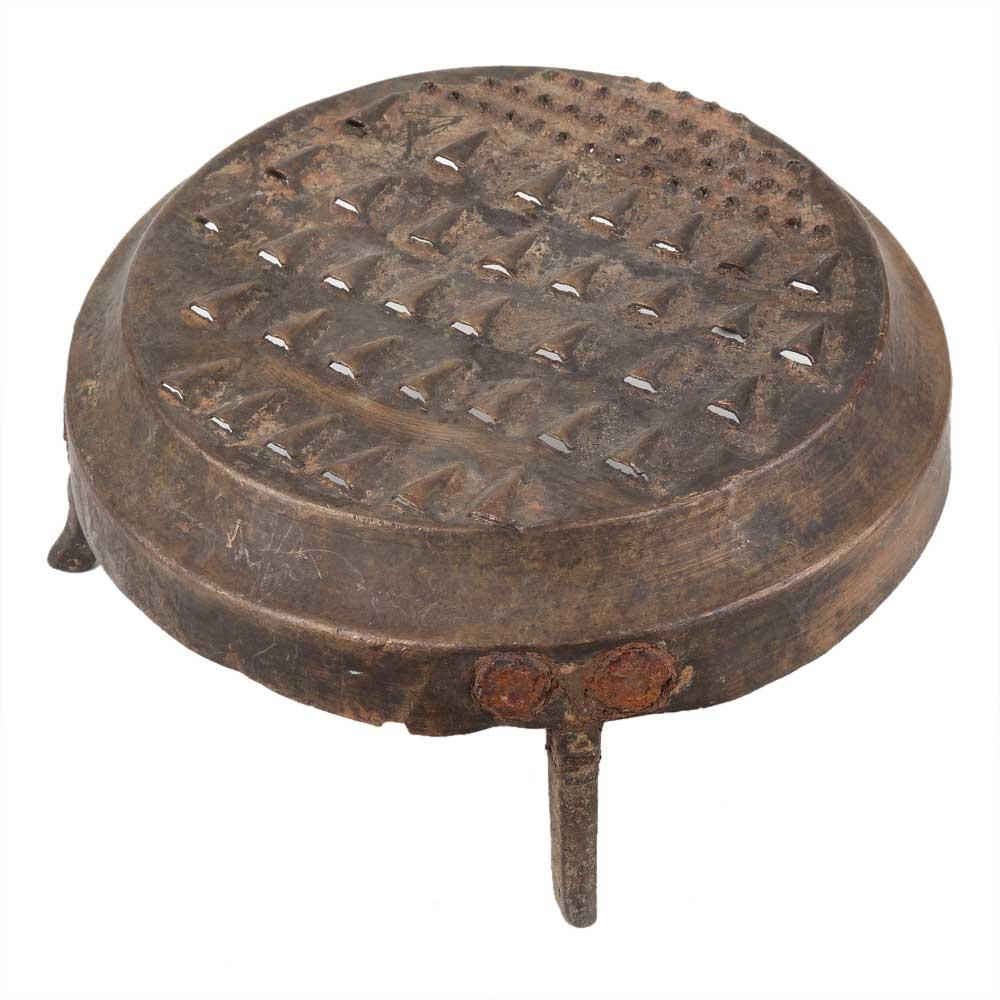 Handmade Antique Brass Grater With Three Legs