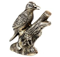 Handmade Silver Brass Bird Model Figurine Statue
