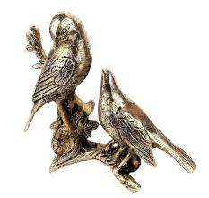 Handmade Silver Brass Bird Couple Statue For Home Decoration