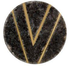 Round Grey Stone Gold V Shape Cabinet Knobs