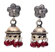 Handmade Oxidized Silver Jhumki Earrings With Floral stud And Red Beads
