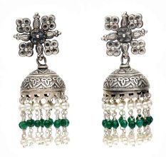 Handmade Oxidized Silver Jhumkis Earring With White Pearl Long Tassel