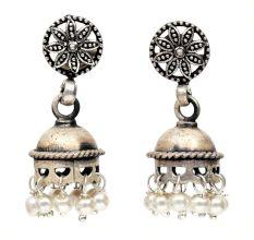 Handmade Oxidized Silver Pearl Floral Stud Jhumki Jhumka Earring