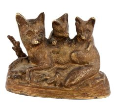 Handmade Brown Brass Cat  With Her Kittens Statue Showpiece