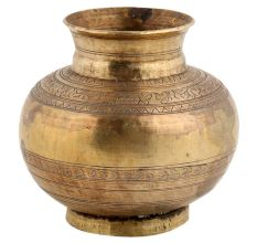 Handmade Copper Colored Brass Water Pot or Lota�With Engraved Pattern