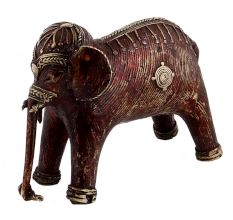 Brass Tribal Standing Elephant With Intricate Detailing In Gold