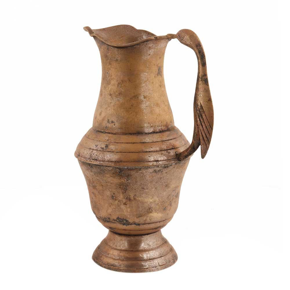 Handmade Brown Patina Rich Brass Jug Or Pitcher With Bird Handle