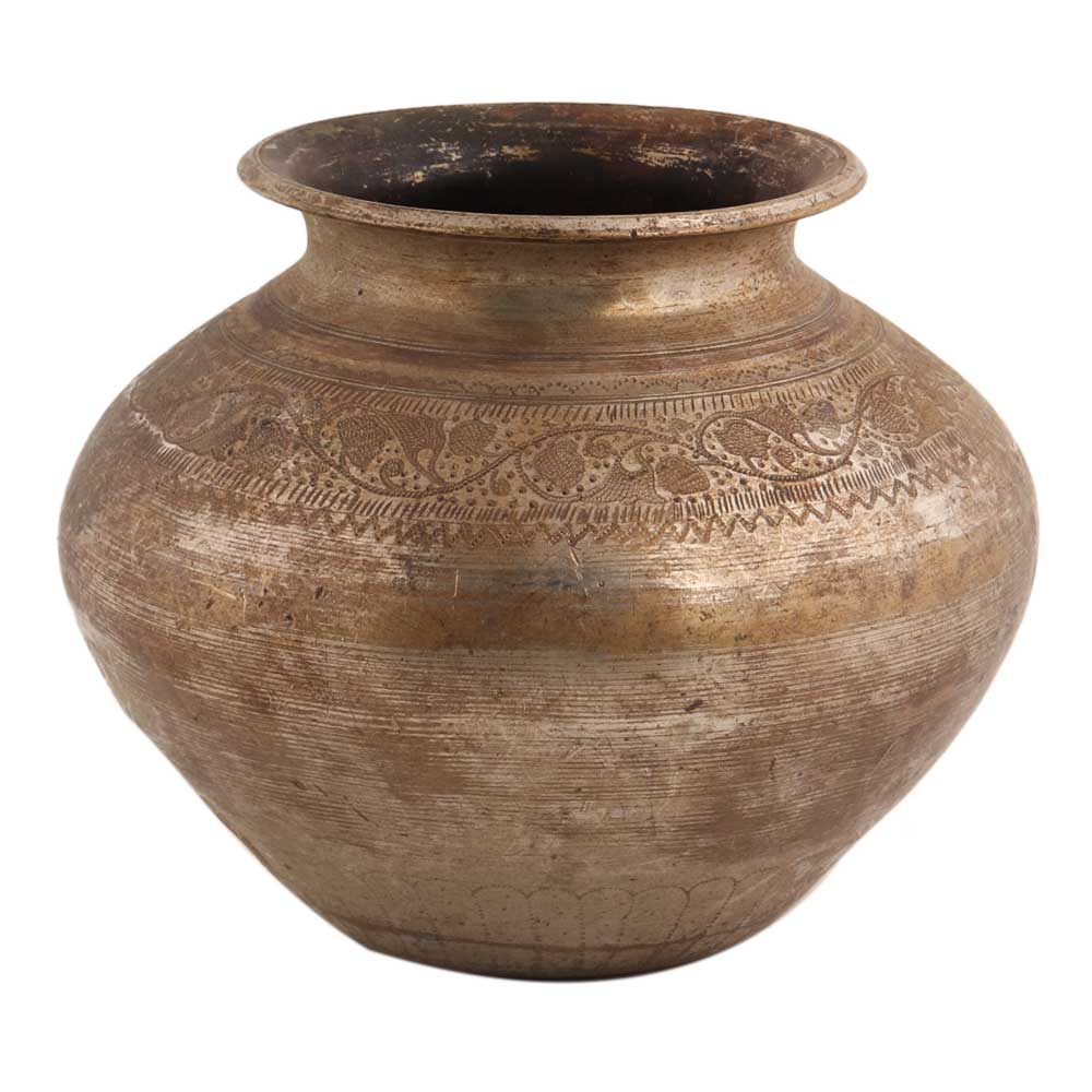 Handmade Rust Finish Brass Water Pot With Floral Border