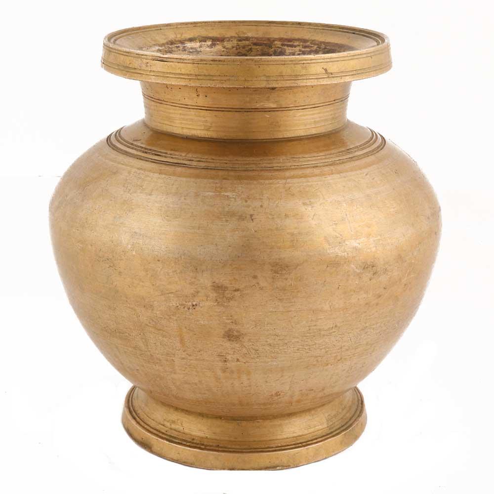 Handmade Rust Finish Brass Spherical Water Pot