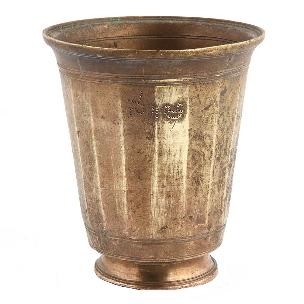 Handmade Brown Brass Fluted Glass With Round base