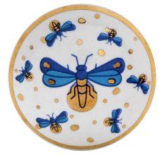 Blue Golden Firefly glowworm Pattern Flat Ceramic Dresser Knob