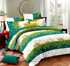 Multi Green Geometric Cotton Double Bed sheet Set and 2 Pillow Covers