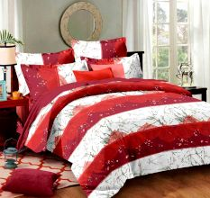 Red Geometric Cotton Double Bed sheet with 2 Pillow Covers