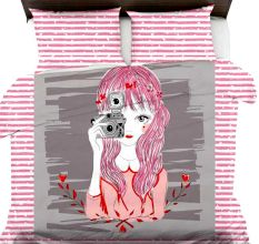 Sketch Of Girl With Camera On Brown Striped Micro Fabric Bed sheet With 2 Pillow Covers