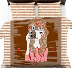 Sketch Of Girl With Camera On Pink Striped Micro Fabric Bed sheet With 2 Pillow Covers