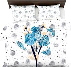 Blue Love Wedding Couple Wagon Micro Fabric Double Bed sheet With 2 Pillow Covers
