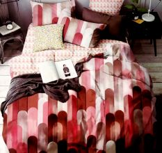 Rust and Pink Abstract Micro Fabric Double Bed sheet with 2 Pillow Covers