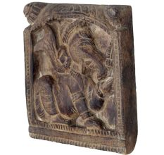 Hand carved Brown Wooden Ganesha Abstract Wall Art