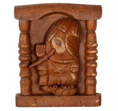 Hand Carved Brown One Sided Wooden Ganesha Wall Art